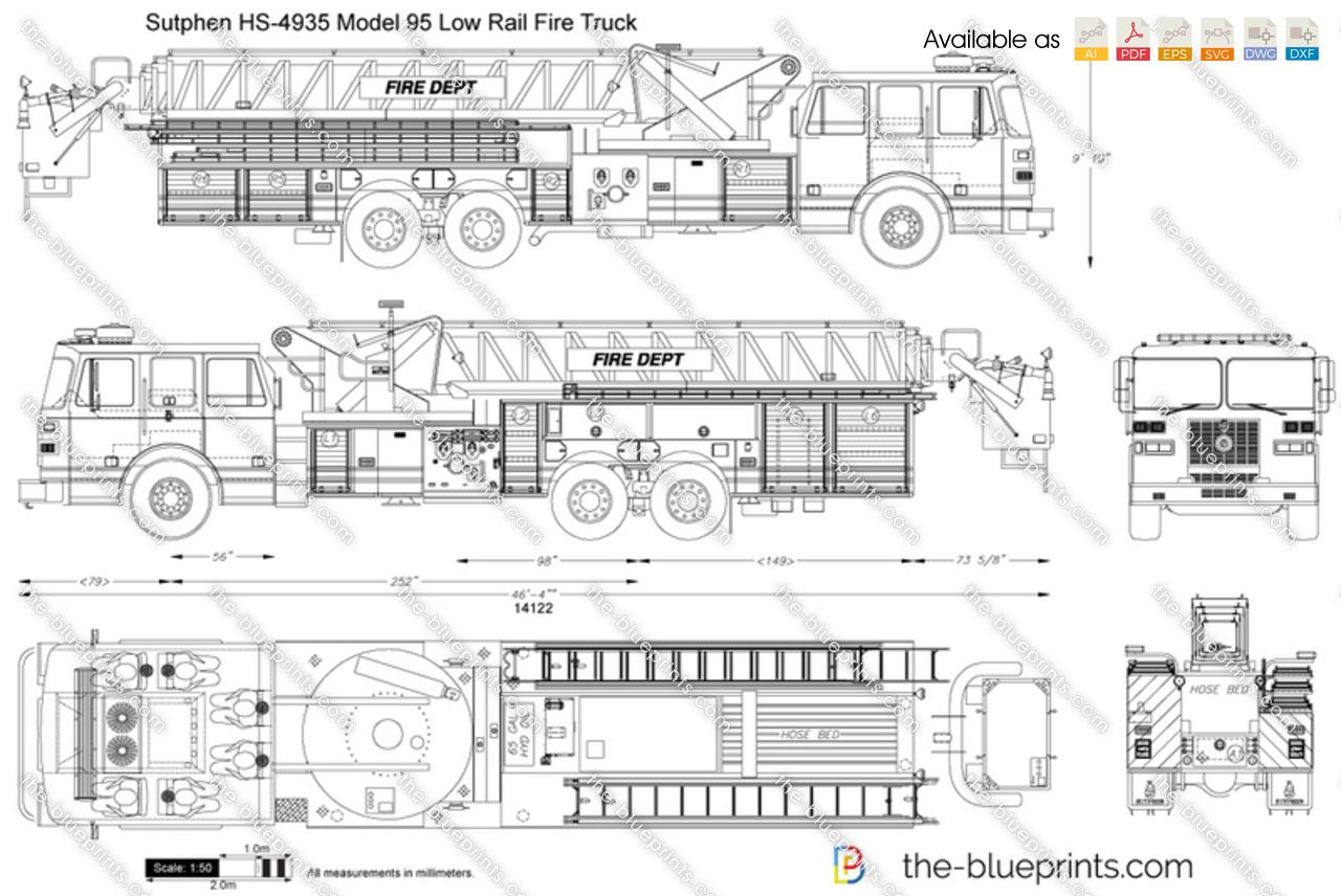 hight resolution of sutphen hs 4935 model 95 low rail fire truck
