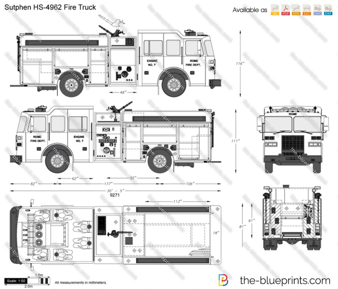 Sutphen Hs Fire Truck Vector Drawing