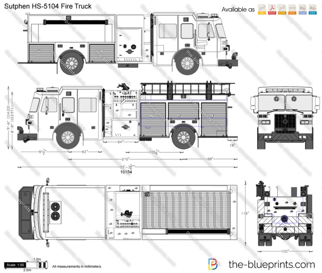 Sutphen HS-5104 Fire Truck vector drawing