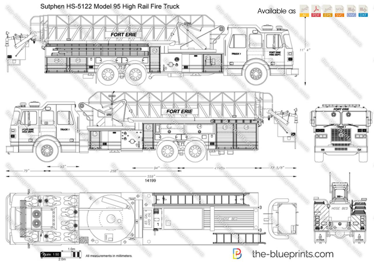 hight resolution of sutphen hs 5122 model 95 high rail fire truck