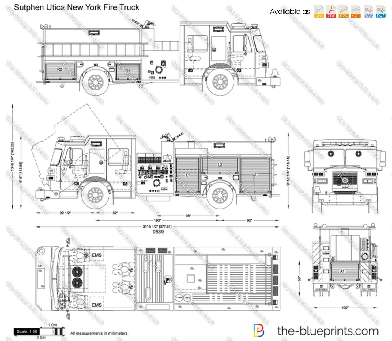 hight resolution of sutphen utica new york fire truck vector drawing