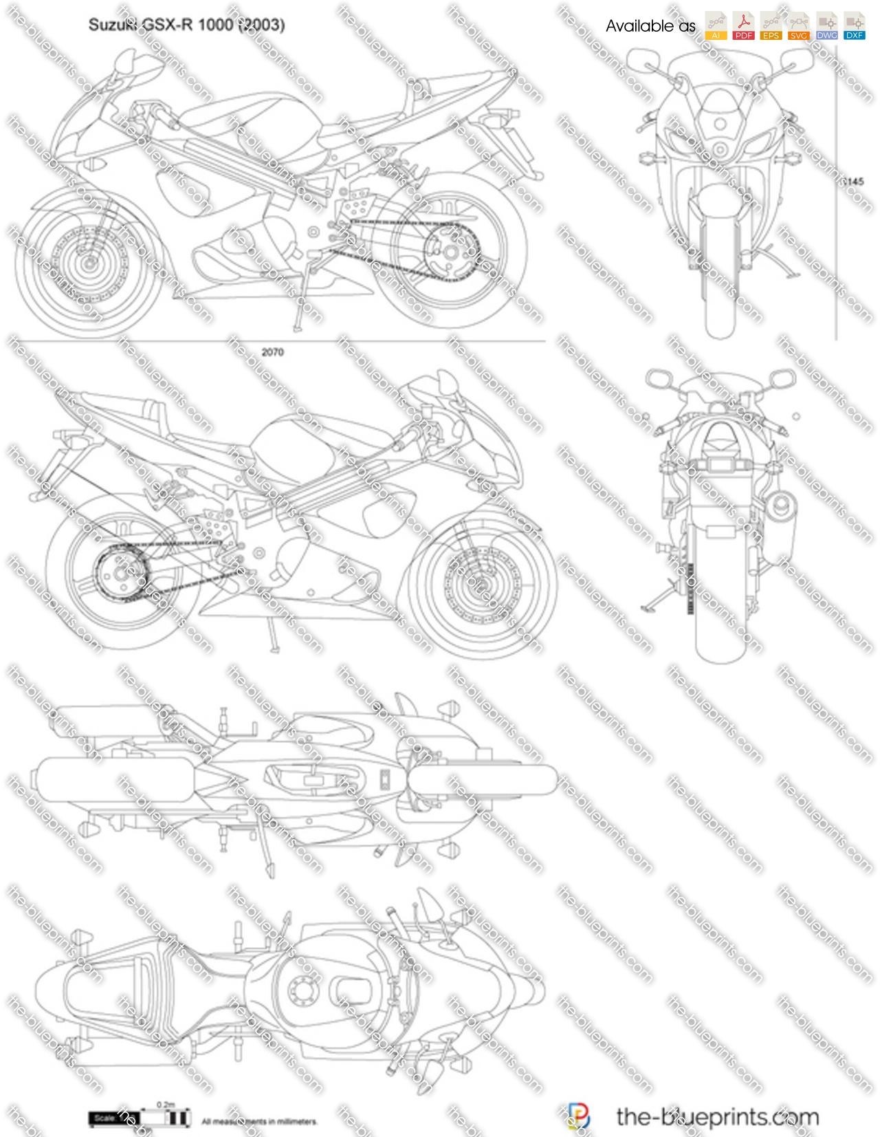 Suzuki GSX-R 1000 vector drawing