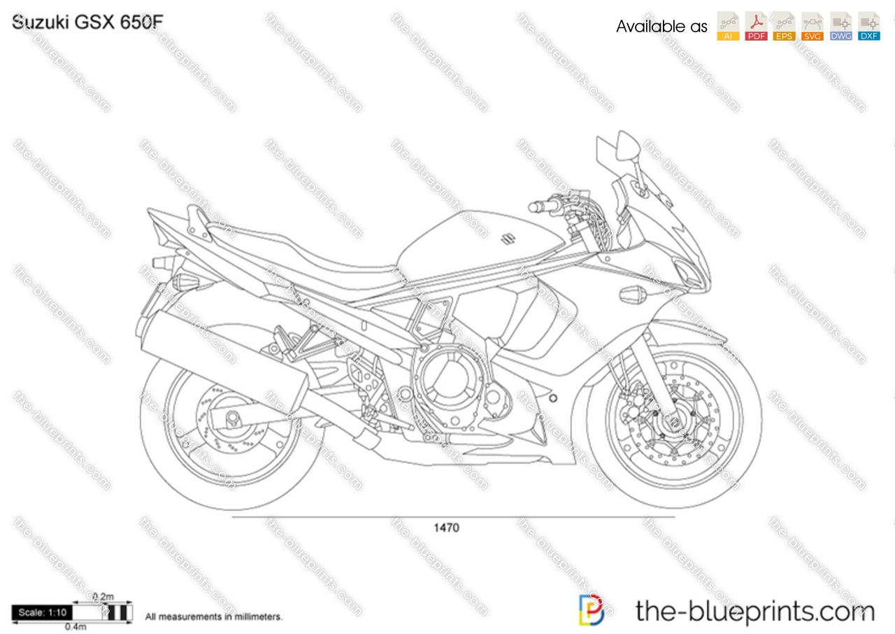Suzuki GSX 650F vector drawing