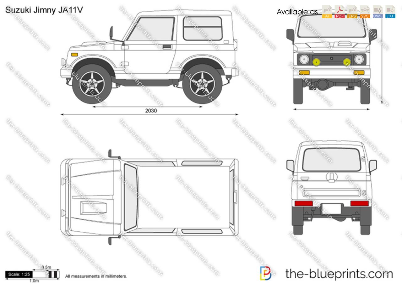 Suzuki Jimny JA11V vector drawing