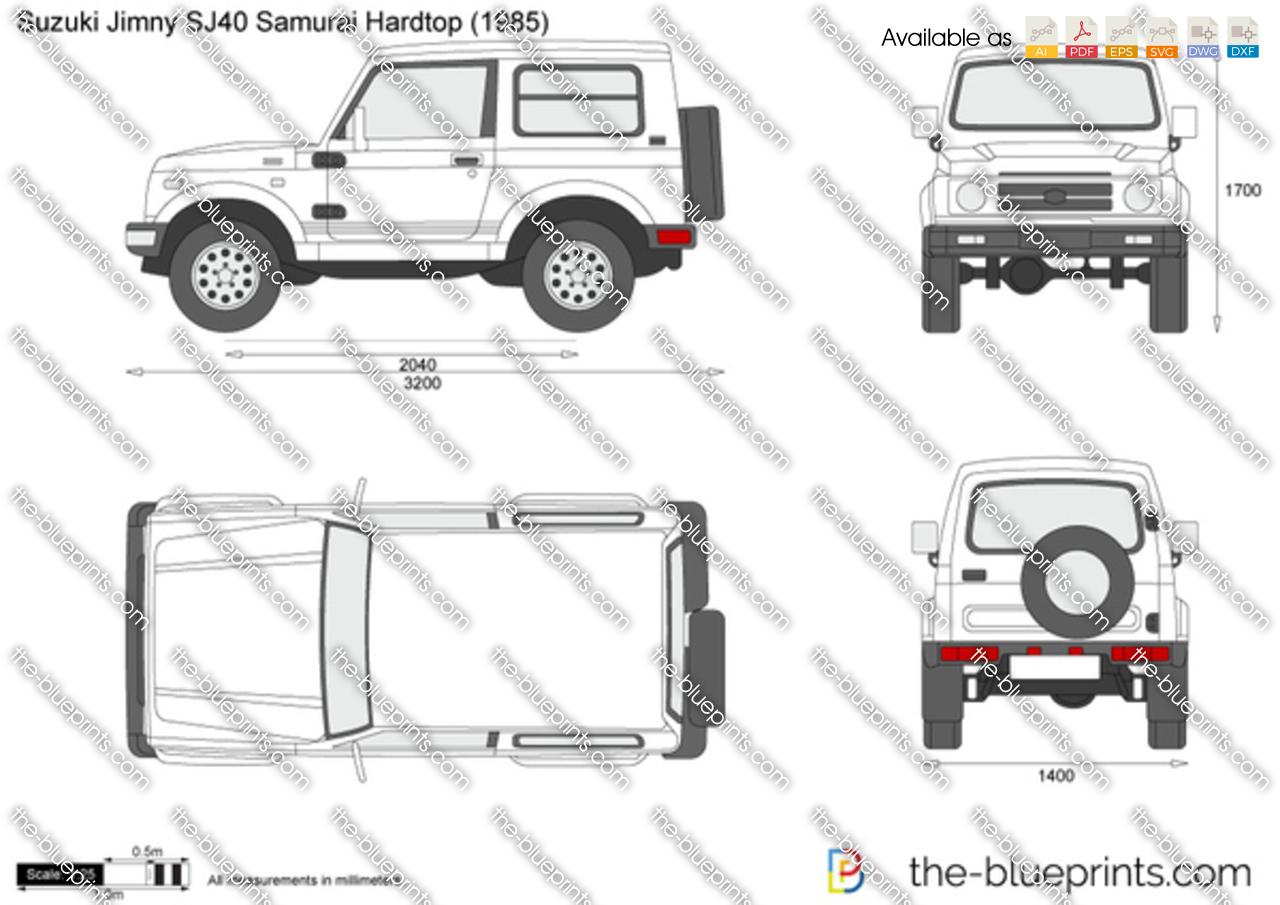 Suzuki Jimny SJ40 Samurai Hardtop vector drawing