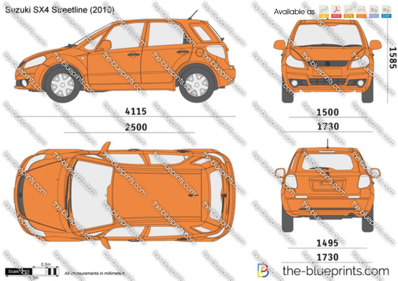 Suzuki SX4 Streetline vector drawing