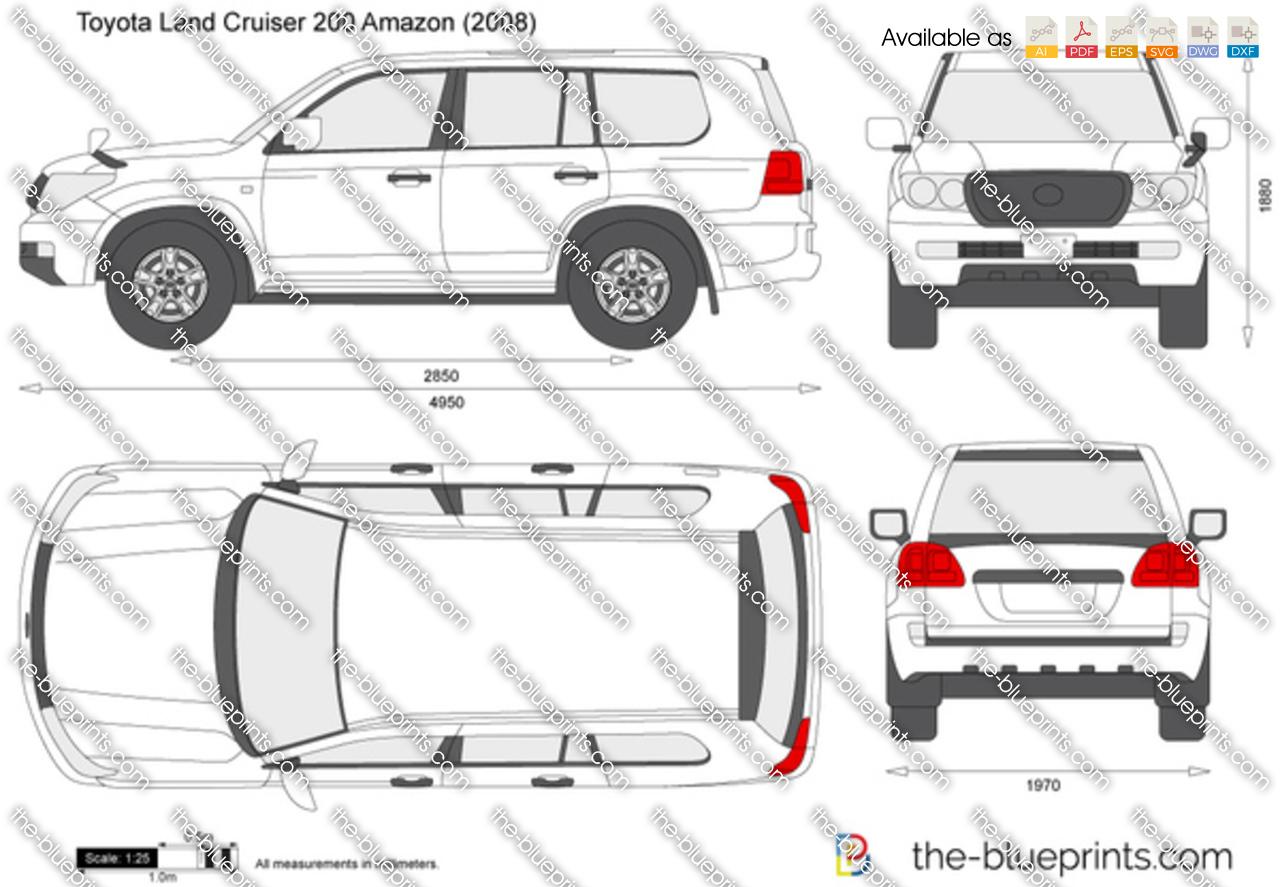 Toyota Land Cruiser 200 Amazon vector drawing