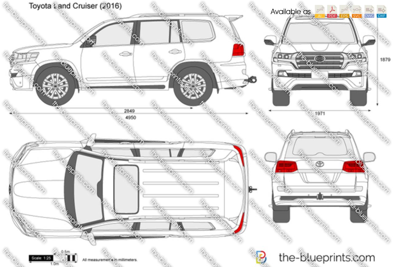 Toyota Land Cruiser J200 Vector Drawing
