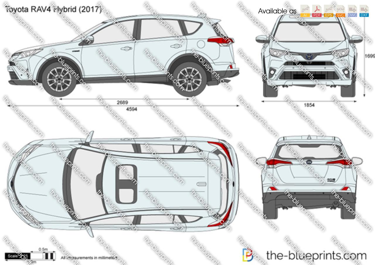 Toyota Rav4 Hybrid Vector Drawing