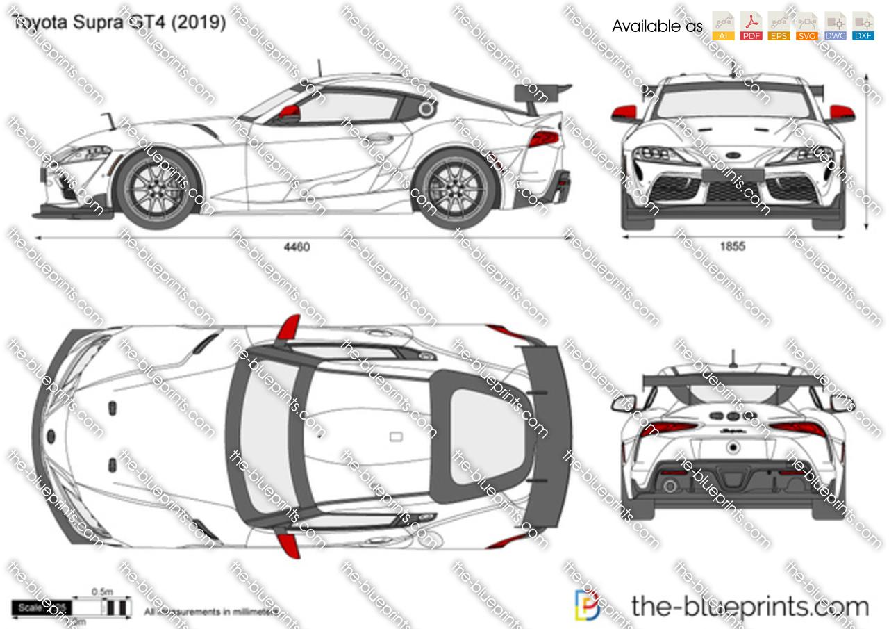 Toyota Supra Gt4 Vector Drawing