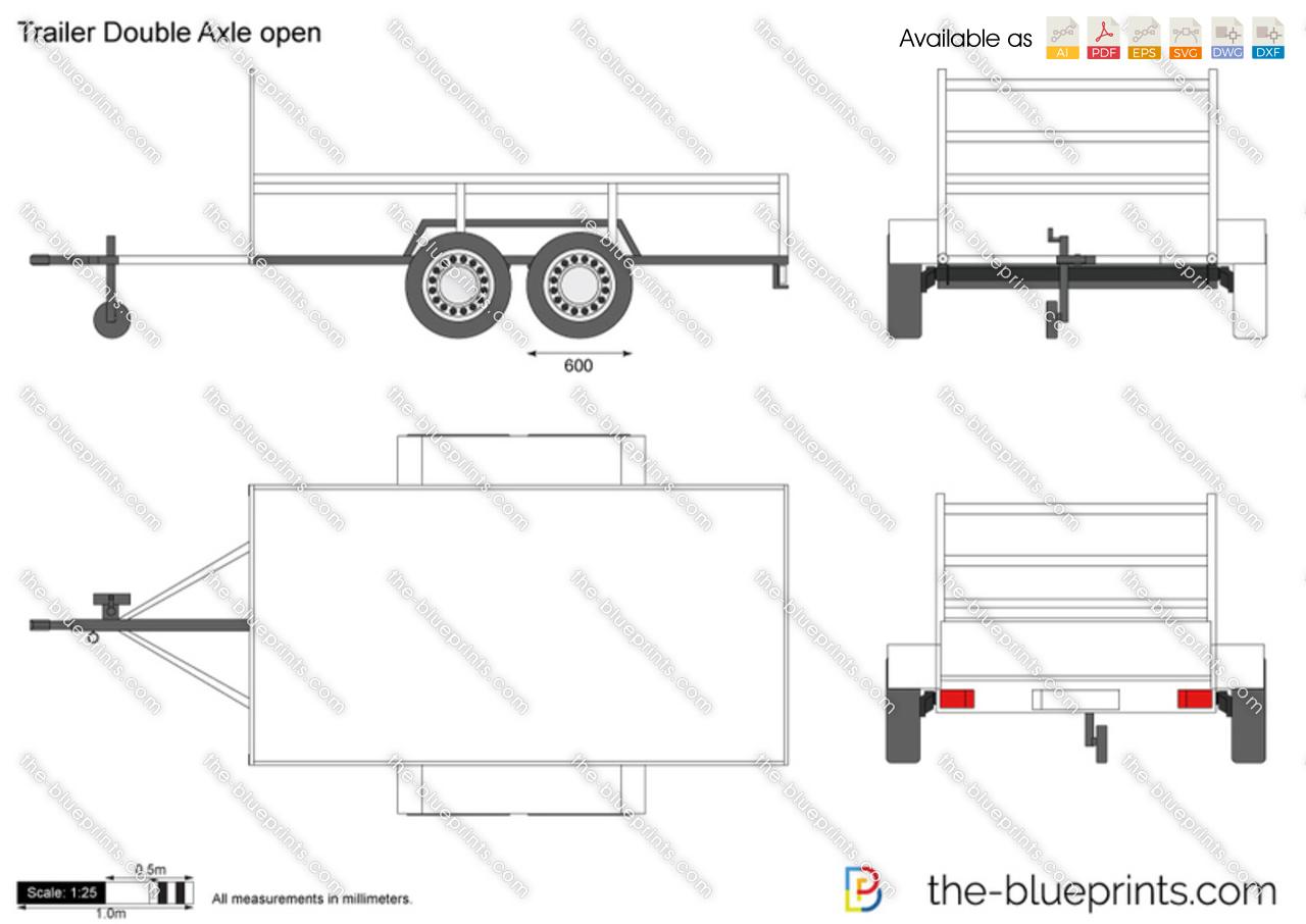 Trailer Double Axle open vector drawing