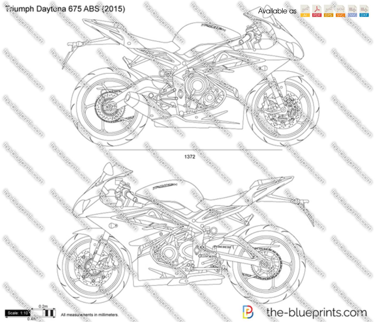 Triumph Daytona 675 ABS vector drawing