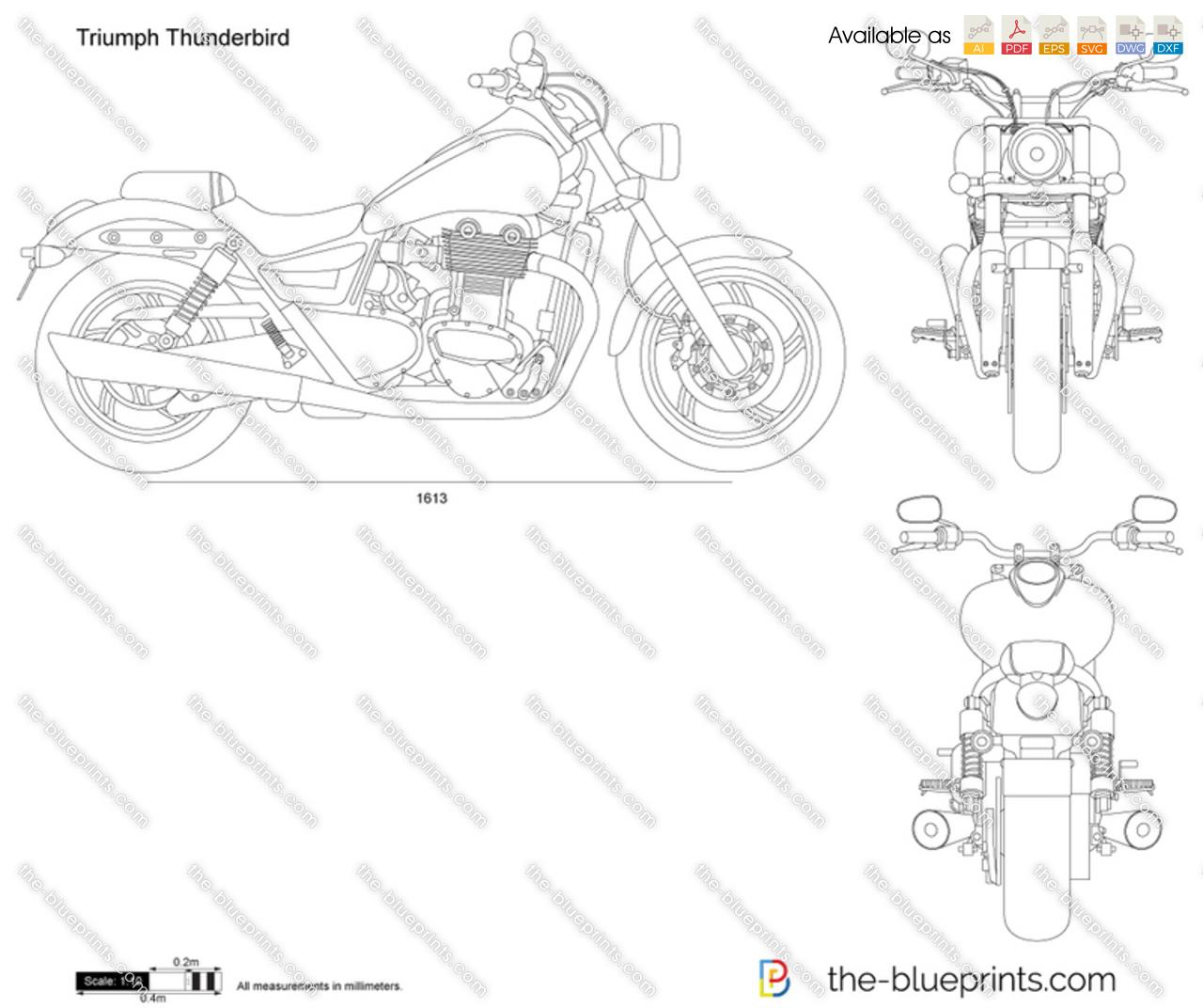 Triumph Thunderbird vector drawing