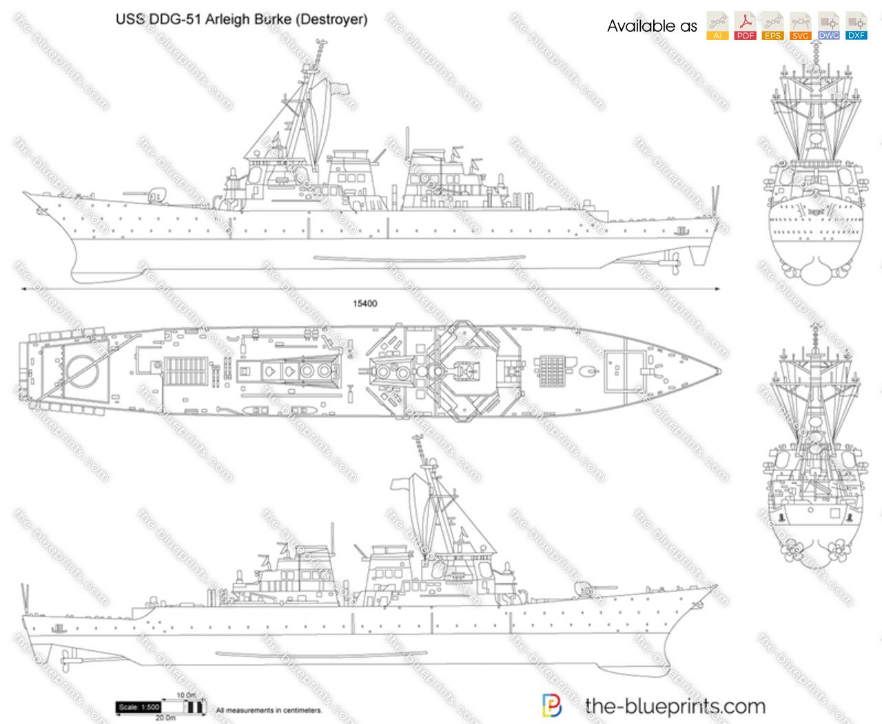 Uss Ddg 51 Arleigh Burke Destroyer Vector Drawing
