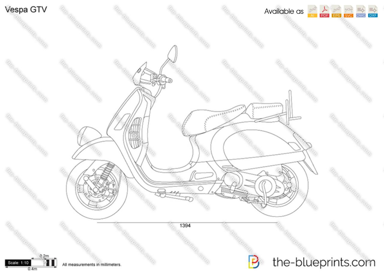 Vespa GTV vector drawing