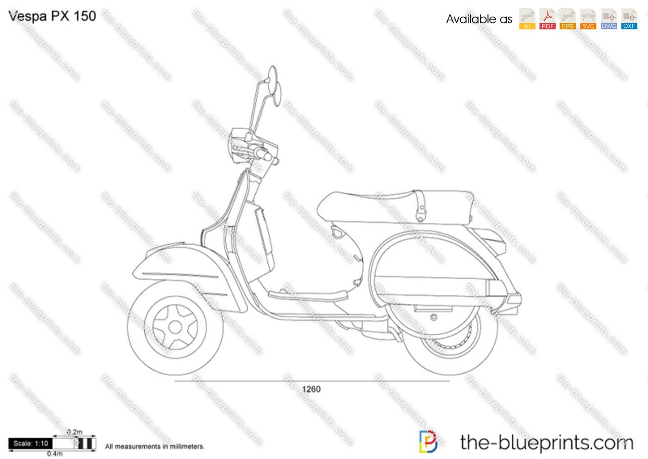 Modern Vespa : Vespa PX outline drawing?