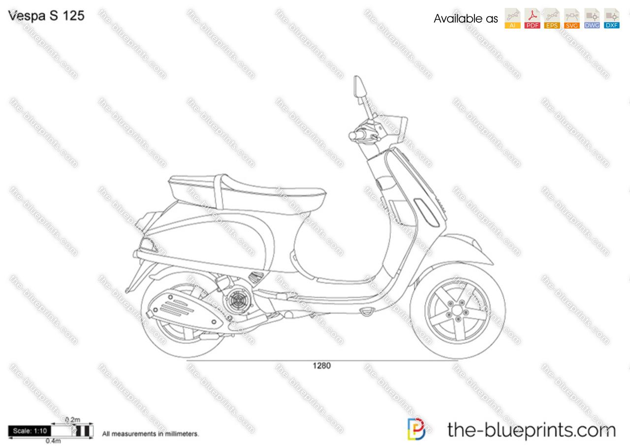 Vespa S 125 vector drawing