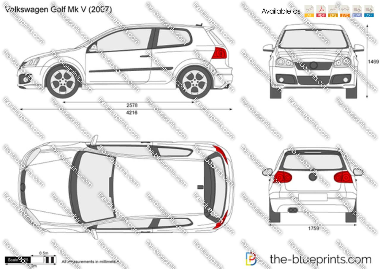 Volkswagen Golf V 3-Door vector drawing