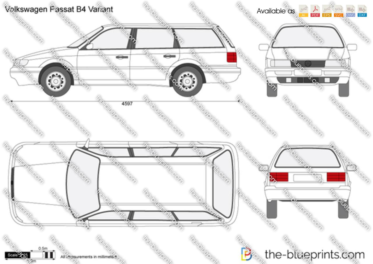 Volkswagen Passat B4 Variant vector drawing