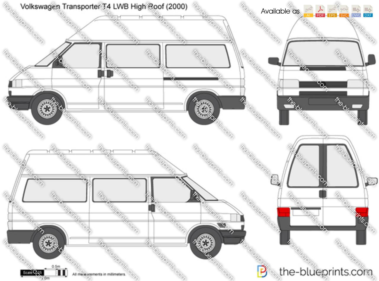 Volkswagen Transporter T4 LWB High Roof vector drawing