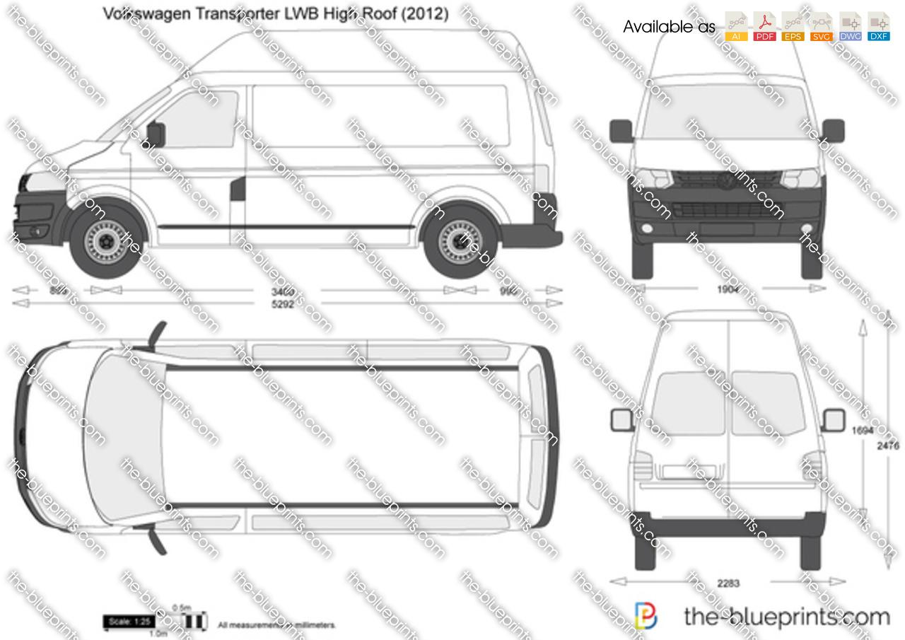 Volkswagen Transporter T5.2 LWB High Roof vector drawing