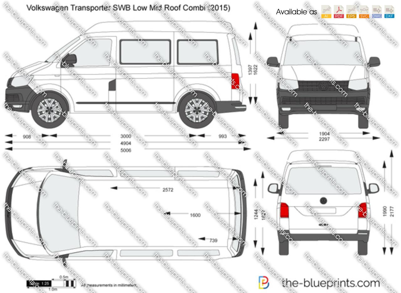 Volkswagen Transporter T6 SWB Low Mid Roof Combi vector