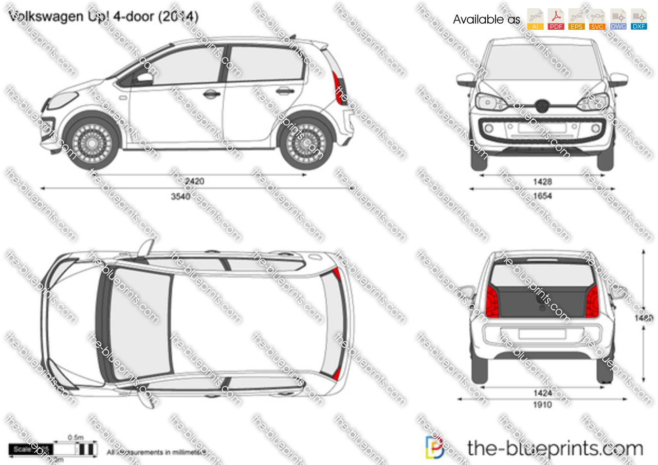Volkswagen Up 4 Door Vector Drawing