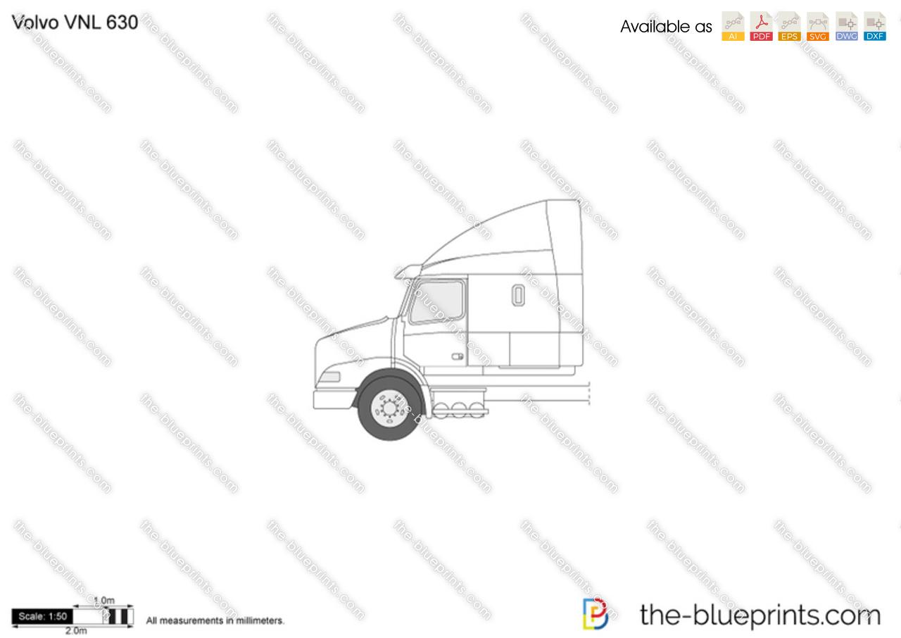 Volvo VNL 630 vector drawing