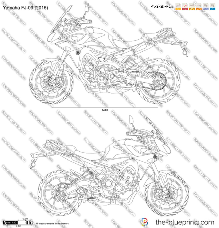Yamaha FJ-09 vector drawing