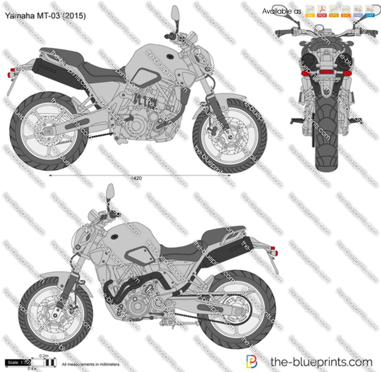 Yamaha Mt 03 Vector Drawing