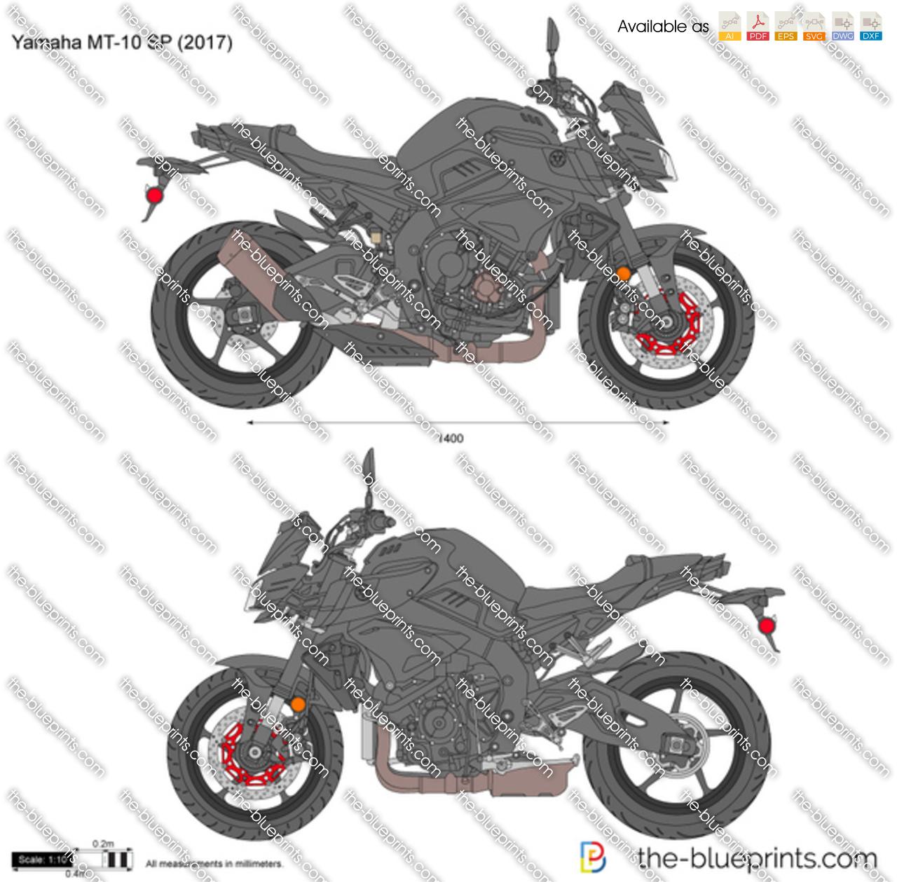 Yamaha MT-10 SP vector drawing