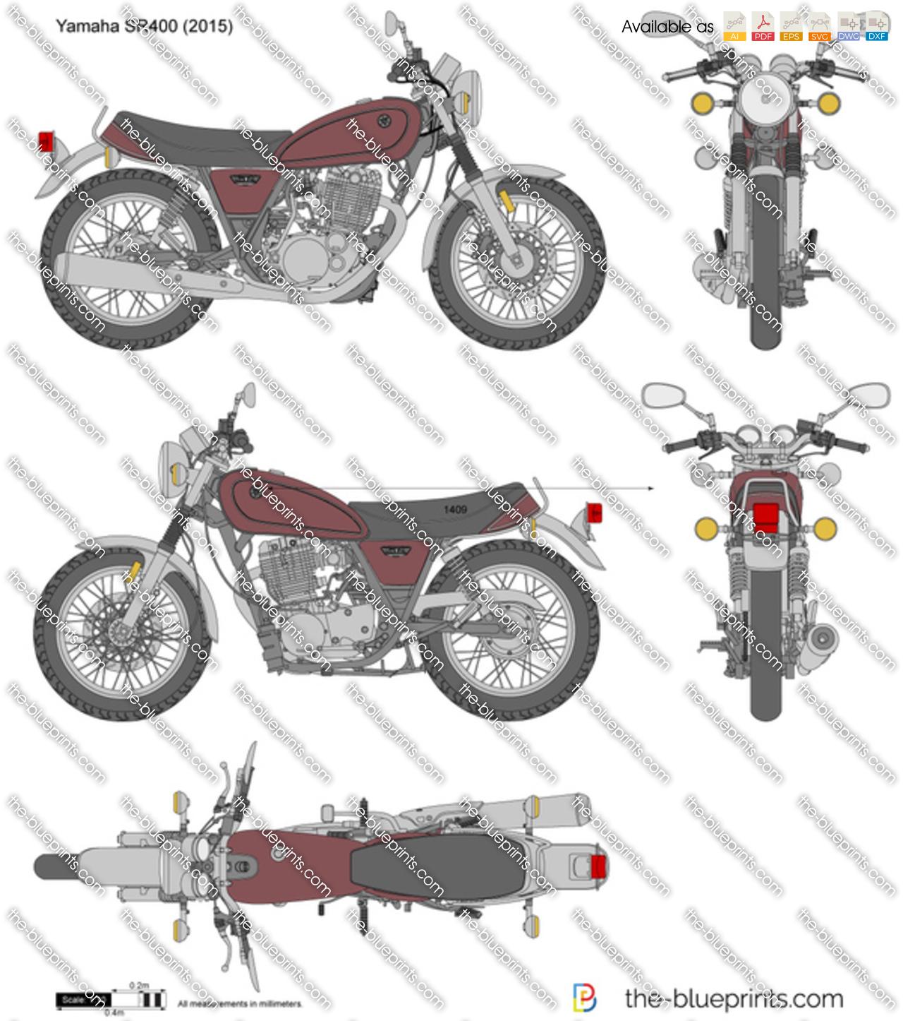 Yamaha SR400 vector drawing