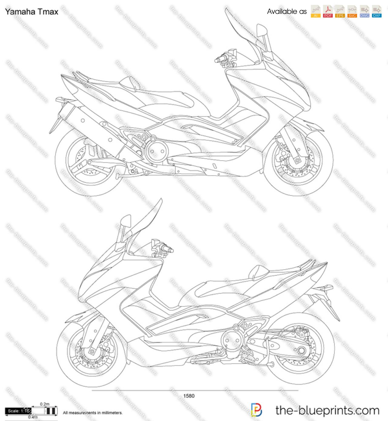 Yamaha Tmax vector drawing