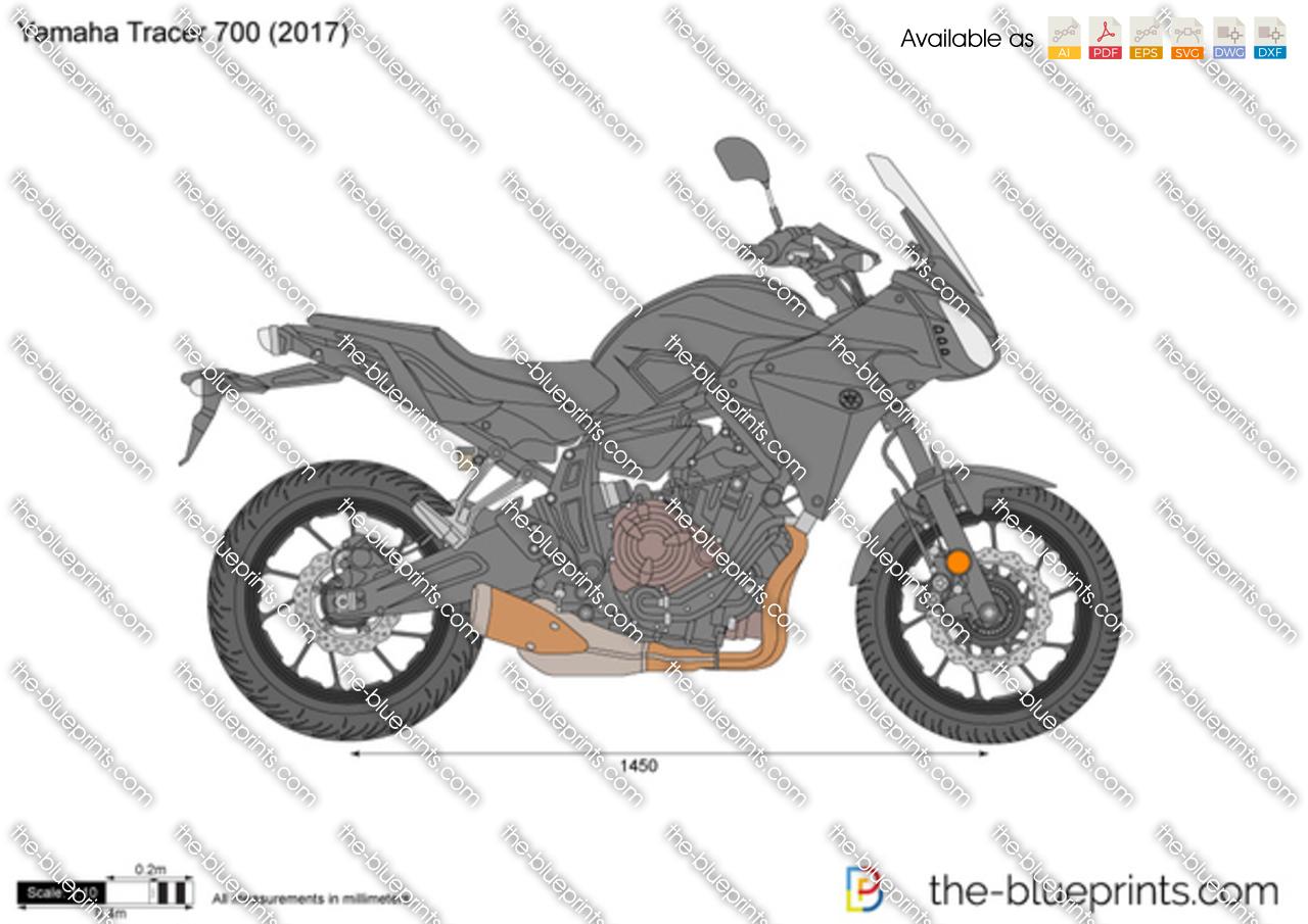 Yamaha Tracer 700 vector drawing