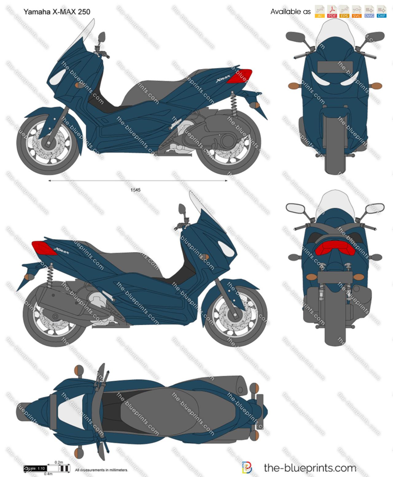 Yamaha X-Max 250 vector drawing