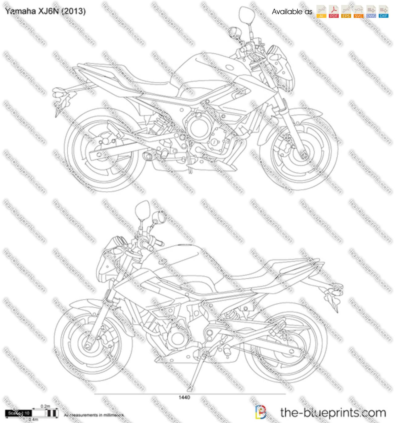 Yamaha XJ6N vector drawing