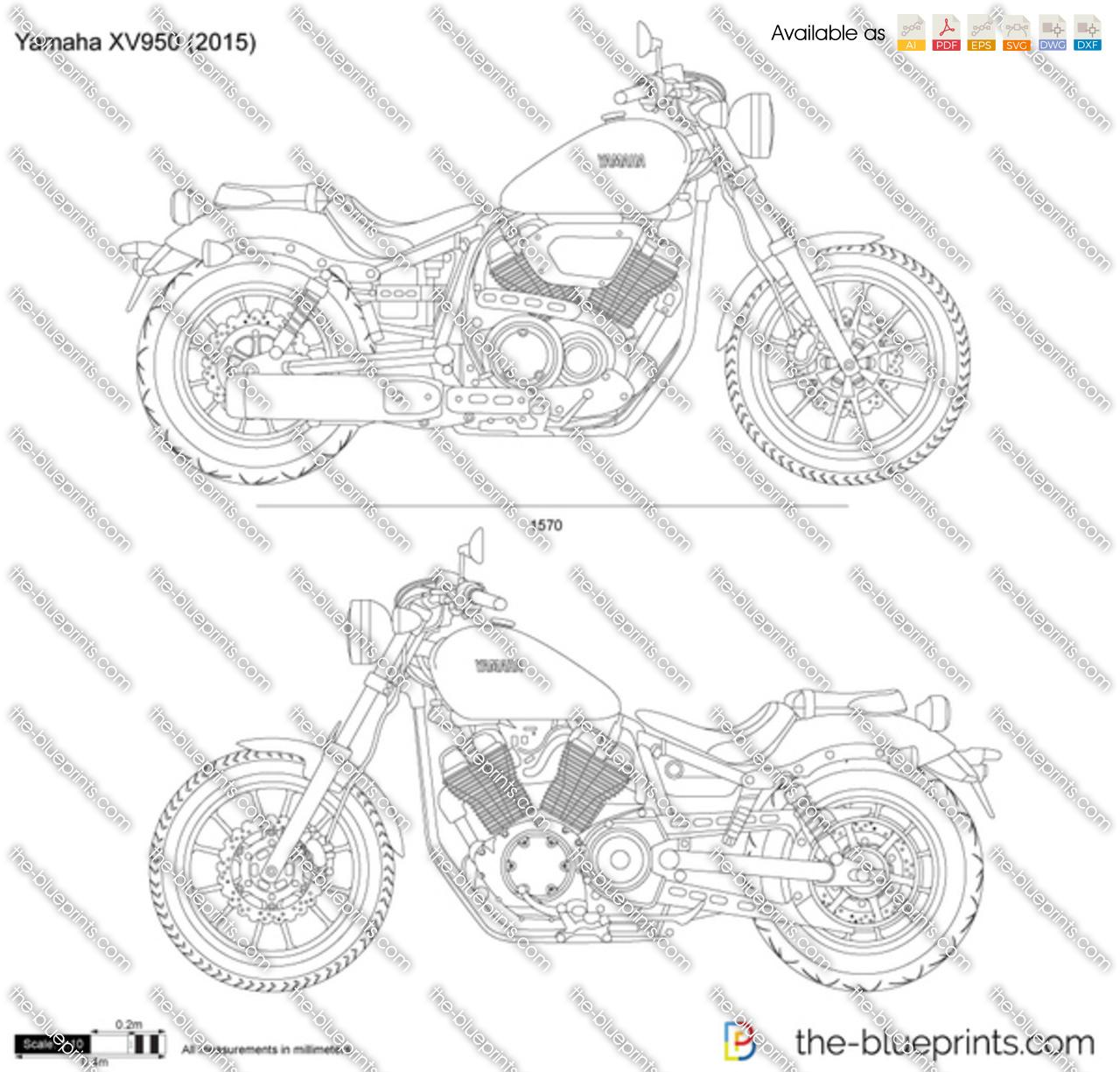 Yamaha XV950 vector drawing