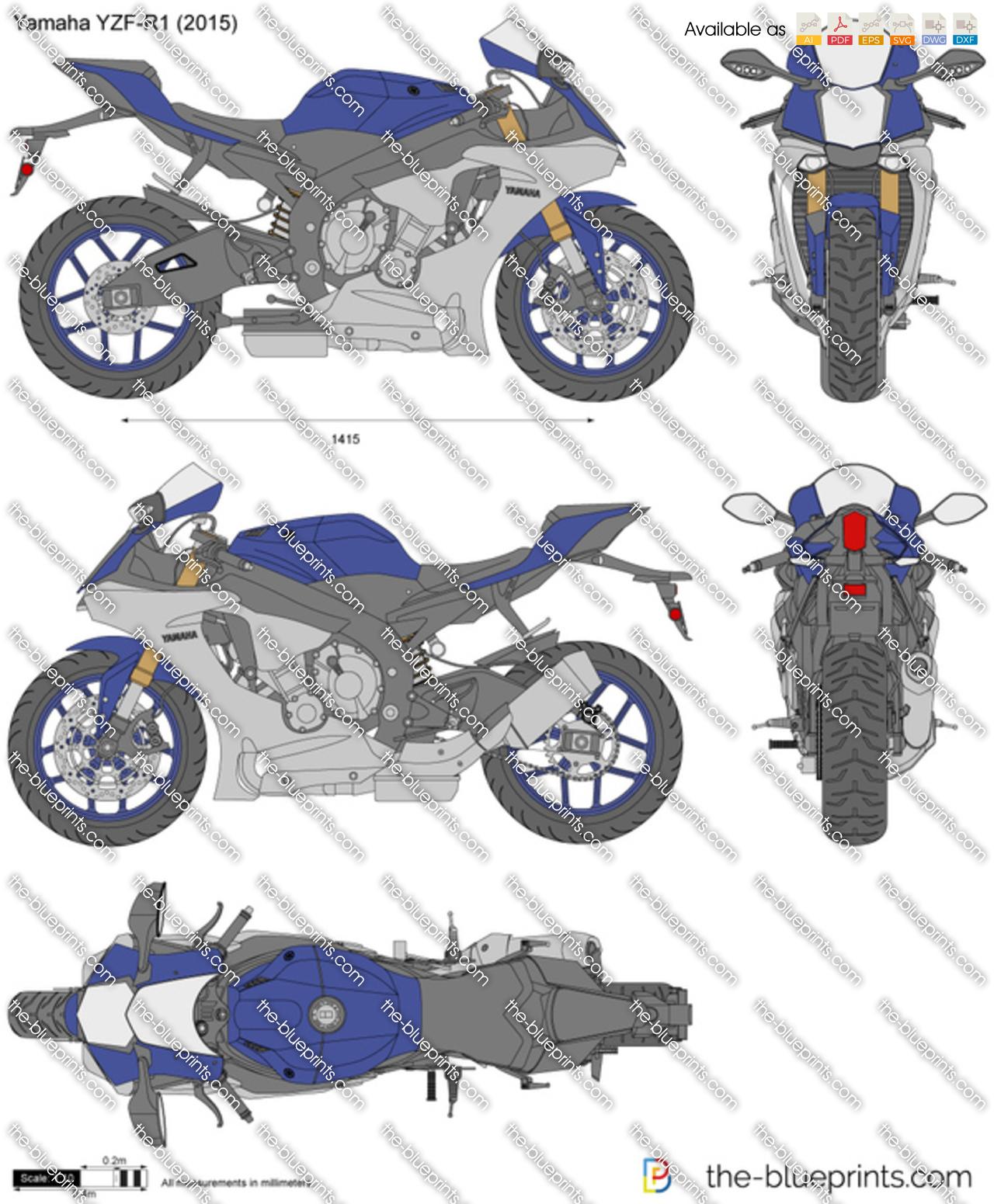 Yamaha YZF-R1 vector drawing