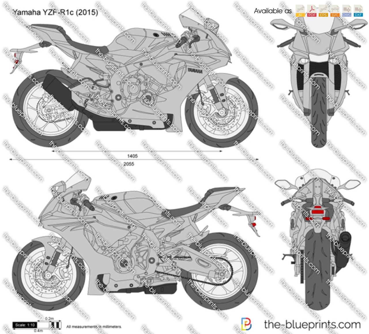 Yamaha YZF-R1c vector drawing