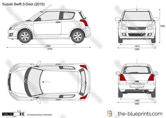 Suzuki Swift 3-Door vector drawing