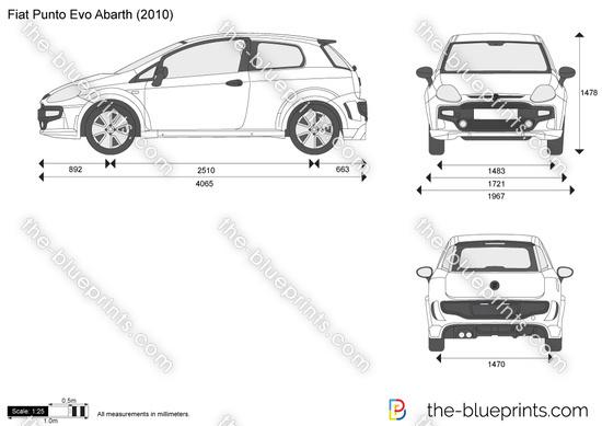 Fiat Punto Evo Abarth vector drawing