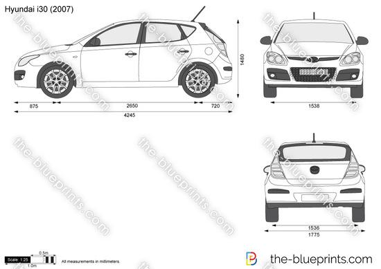 Hyundai i30 vector drawing