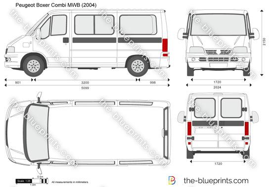 Peugeot Boxer Combi MWB vector drawing