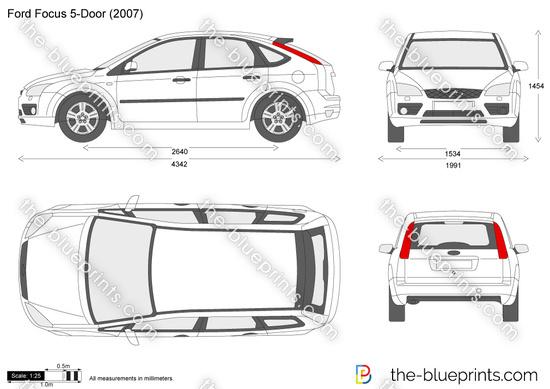 Ford Focus 5-Door vector drawing