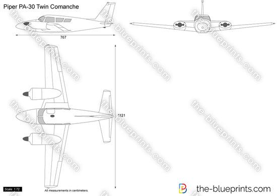 Piper PA-30 Twin Comanche vector drawing