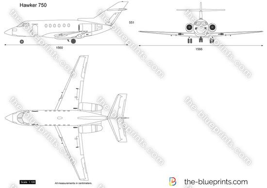 Hawker 750 vector drawing