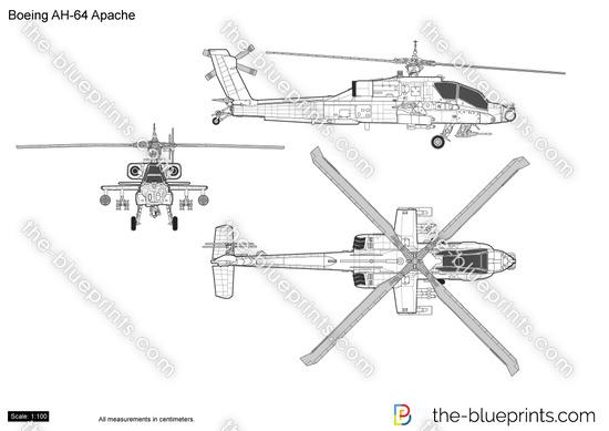 Boeing AH-64 Apache vector drawing