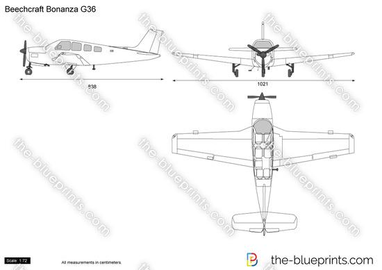 Beechcraft Bonanza G36 vector drawing