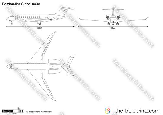 Bombardier Global 8000 vector drawing
