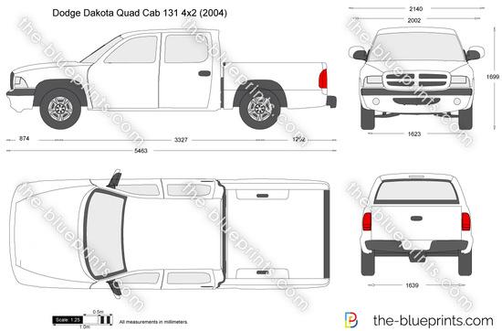 Dodge Dakota Quad Cab 131 4x2 vector drawing